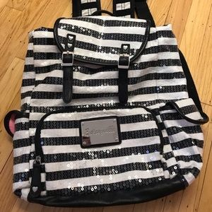 Betsey Johnson black and white striped backpack
